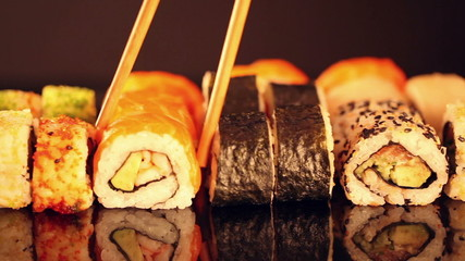 Sushi pieces in row in slide motion