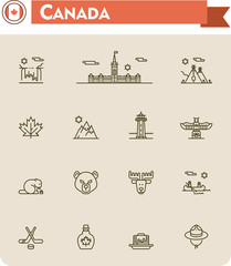 Canada travel icon set