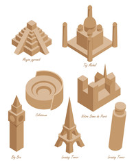 set of schematic drawings of various architectural landmarks