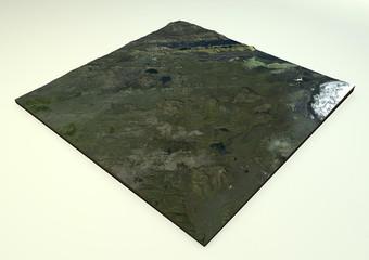 Vulcano Laki, Islanda, vista satellitare, sezione terreno 3d