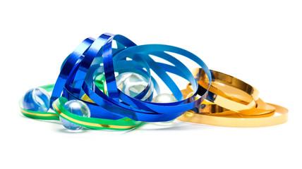Metallic colored ribbons