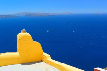 Beautiful seascape of volcanic caldera on Santorini