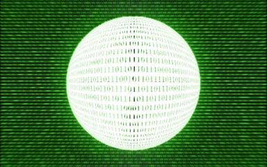 Abstract tech binary green bright background, concept