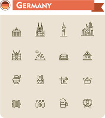 Germany  travel icon set