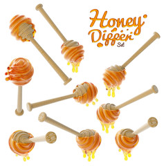 Honey dripping from a wooden honey dipper set isolated on white