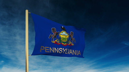 pennsylvania flag slider style with title. Waving in the wind