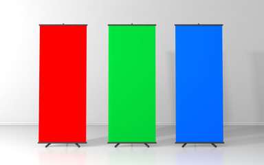 RGB blank roll up posters - vertical billboard for text