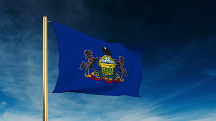 pennsylvania flag slider style. Waving in the win with cloud