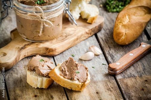 Leinwanddruck Bild sandwiches with homemade chicken liver pate for breakfast