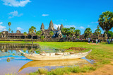 Angkor Wat with old boat seen across the lake, Cambodia - 80248276