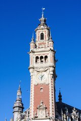 Clock Tower at the Chambre de commerce in Lille, France