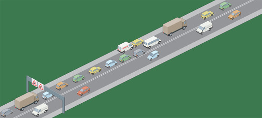 Isometric selection of vehicles in traffic jam RH drive
