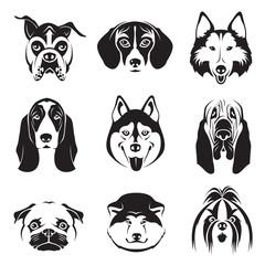 monochrome set of dogs heads