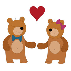 Bears in love vector illustration