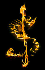 Dollar sign made of fire flames