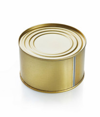 Closed tin can over white background