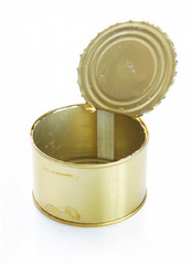 Open tin can over white background