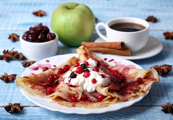 reakfast pancakes with cherry jam
