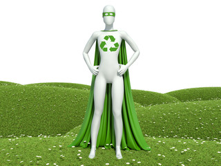 3d white people ecological superhero with recycle sign on grass