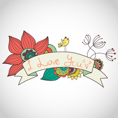 Doodle frame with flowers, bird and ribbon banner