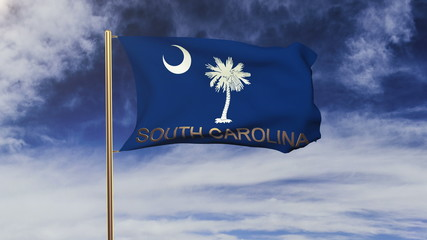 south carolina flag with title waving in the wind. Looping sun