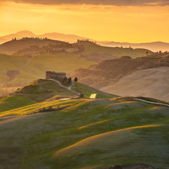 Magnificent Tuscan landscape, fields and meadows warm sun