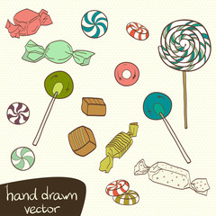 Set of hand drawn doodle candys.