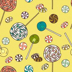 Cartoon candies seamless pattern