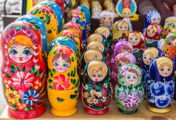 Row of Russian Matrushka Nesting Dolls