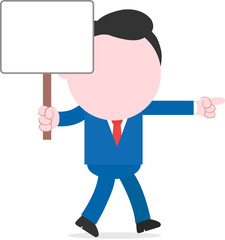 Businessman walking and holding placard
