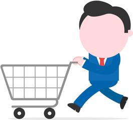 Businessman running and pushing shopping cart