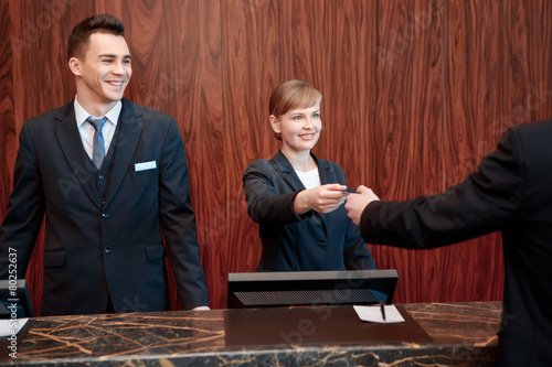 Reception at work in hotel - 80252637