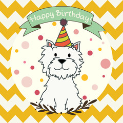 Invitation or greeting card with cartoon dog. Westie terrier