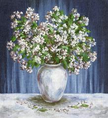 Painting Flowers Jasmine in a Vase