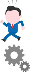 Businessman running above gears