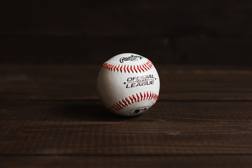 Baseball on the wood with room for copy