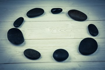Pebble circle on a table