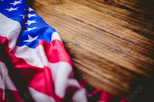 Fotobehang Caraïben American flag on wooden table