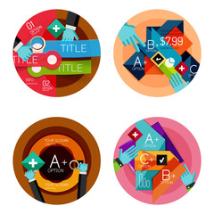 Set of flat design circle option infographics concepts