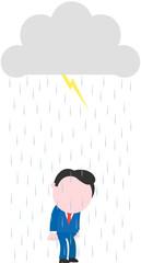 Businessman under rain lightning grey storm cloud