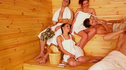 Group people  at sauna.