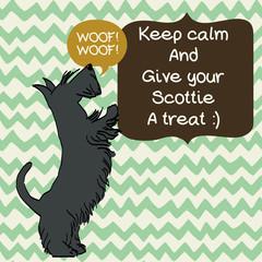 Cartoon dog on doodle chevron background. Scottish terrier