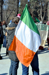 Two men with the Irish flag at the park