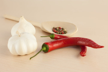 Red peppers and garlic