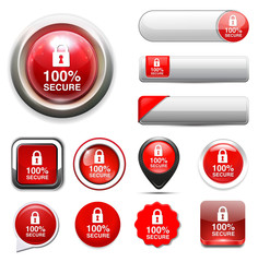 Padlock, secure icon, button