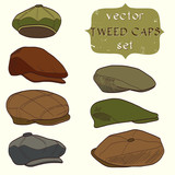 Set of hand drawn tweed caps