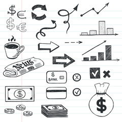 Hand drawn business icons.