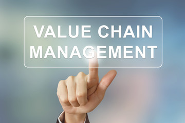 business hand clicking value chain management button