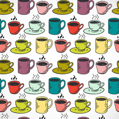 Coffee cups seamless pattern.