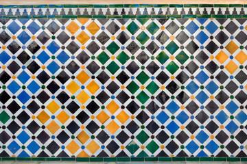 Alhambra de Granada. Tiles mosaic in Nasrid Palaces
